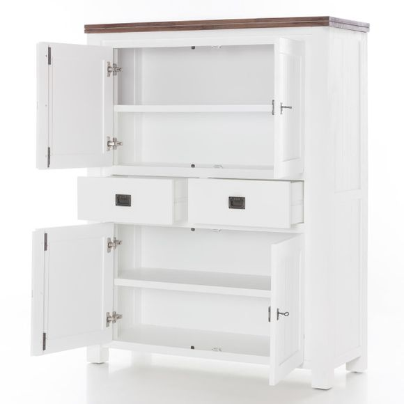 Highboard Lyron in Akazie massiv Weiß / Braun 115 cm – Bild 3
