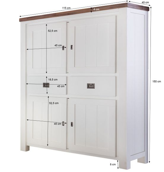 Highboard Lyron in Akazie massiv Weiß / Braun 115 cm – Bild 7