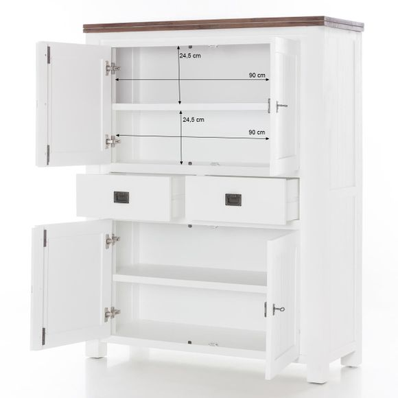 Highboard Lyron in Akazie massiv Weiß / Braun 115 cm – Bild 8
