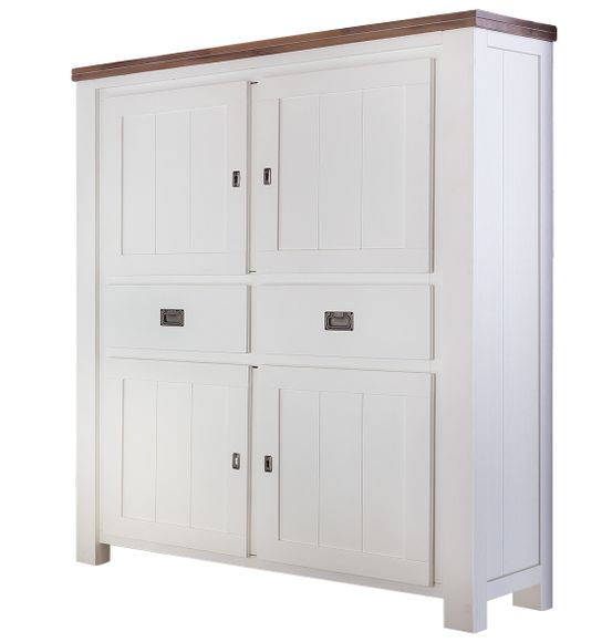 Highboard Lyron in Akazie massiv Weiß / Braun 115 cm