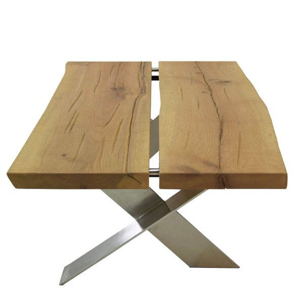 couchtisch viano 110x60 in eiche massivholz metall. Black Bedroom Furniture Sets. Home Design Ideas