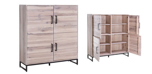 Highboard Eiche Metall massiv