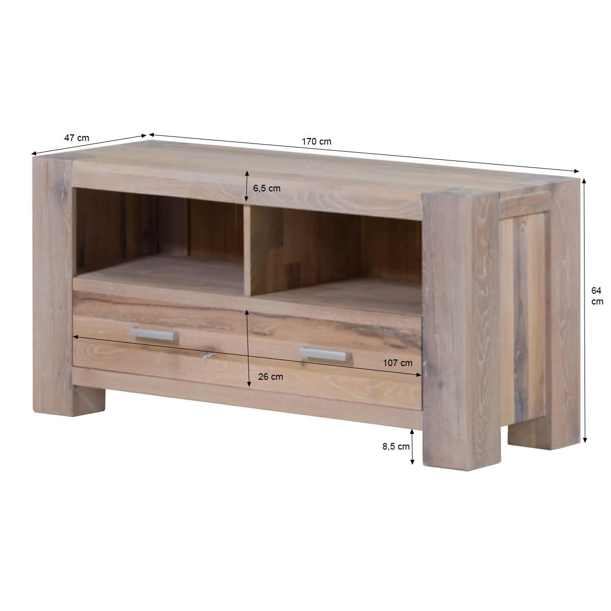 tv lowboard braxton in eiche massiv wei gek lkt. Black Bedroom Furniture Sets. Home Design Ideas