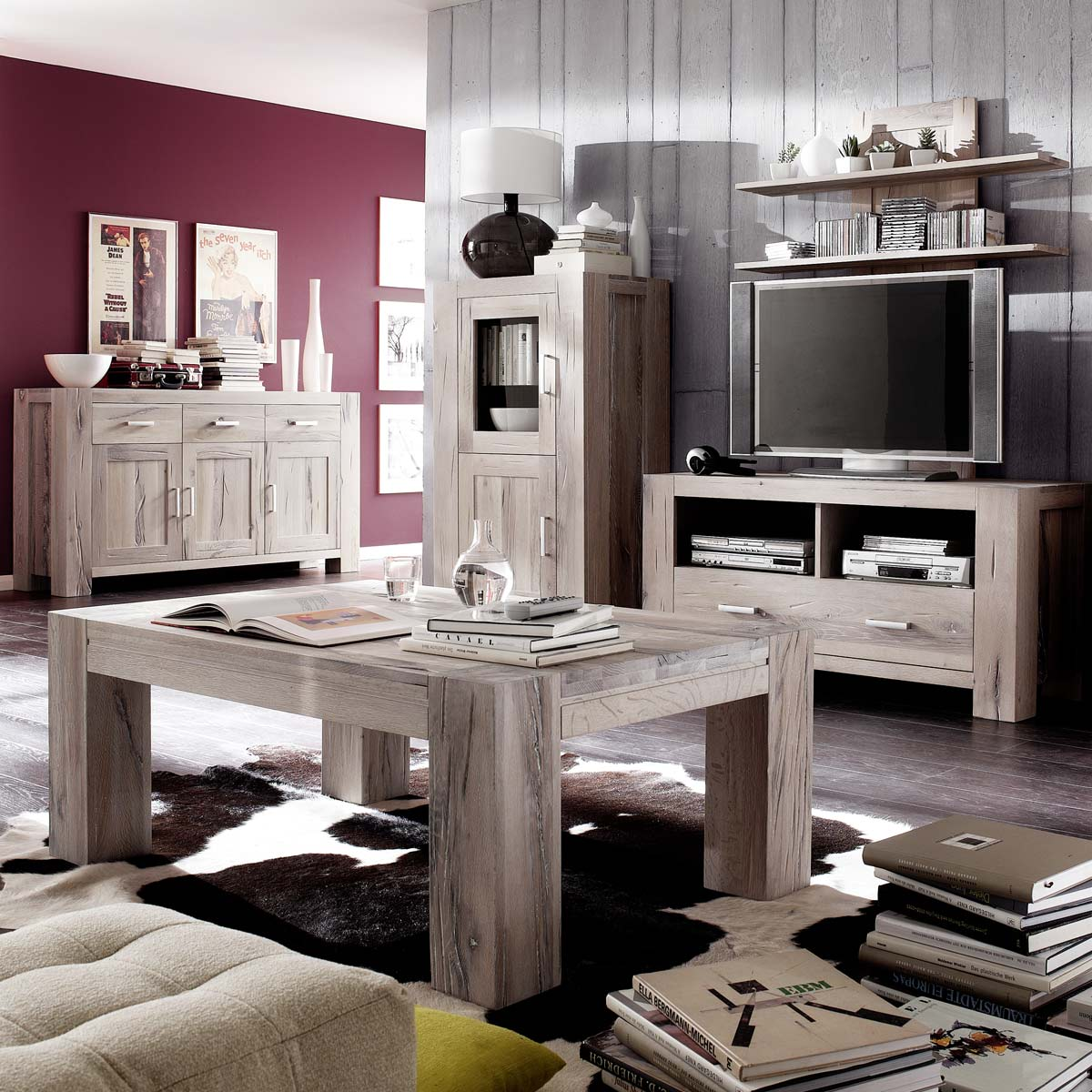 vitrine braxton in eiche massiv wei gek lkt 132 cm. Black Bedroom Furniture Sets. Home Design Ideas