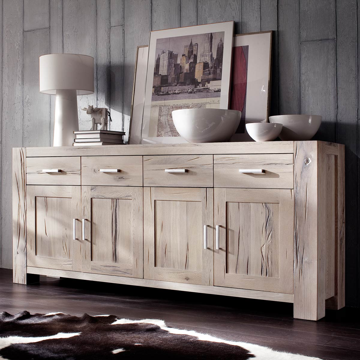 sideboard braxton in eiche massiv wei gek lkt. Black Bedroom Furniture Sets. Home Design Ideas