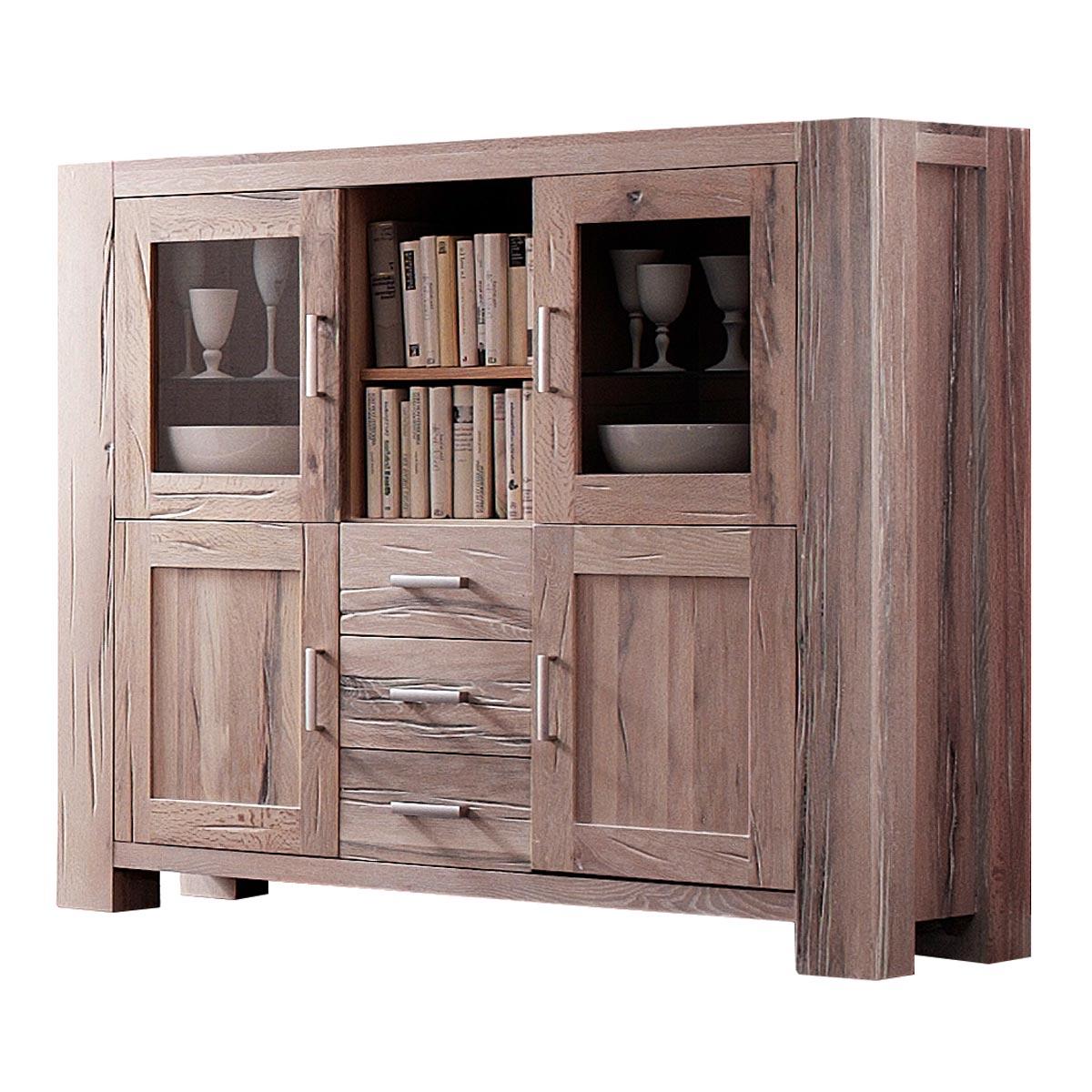 highboard braxton schrank eiche massiv wei gek lkt. Black Bedroom Furniture Sets. Home Design Ideas