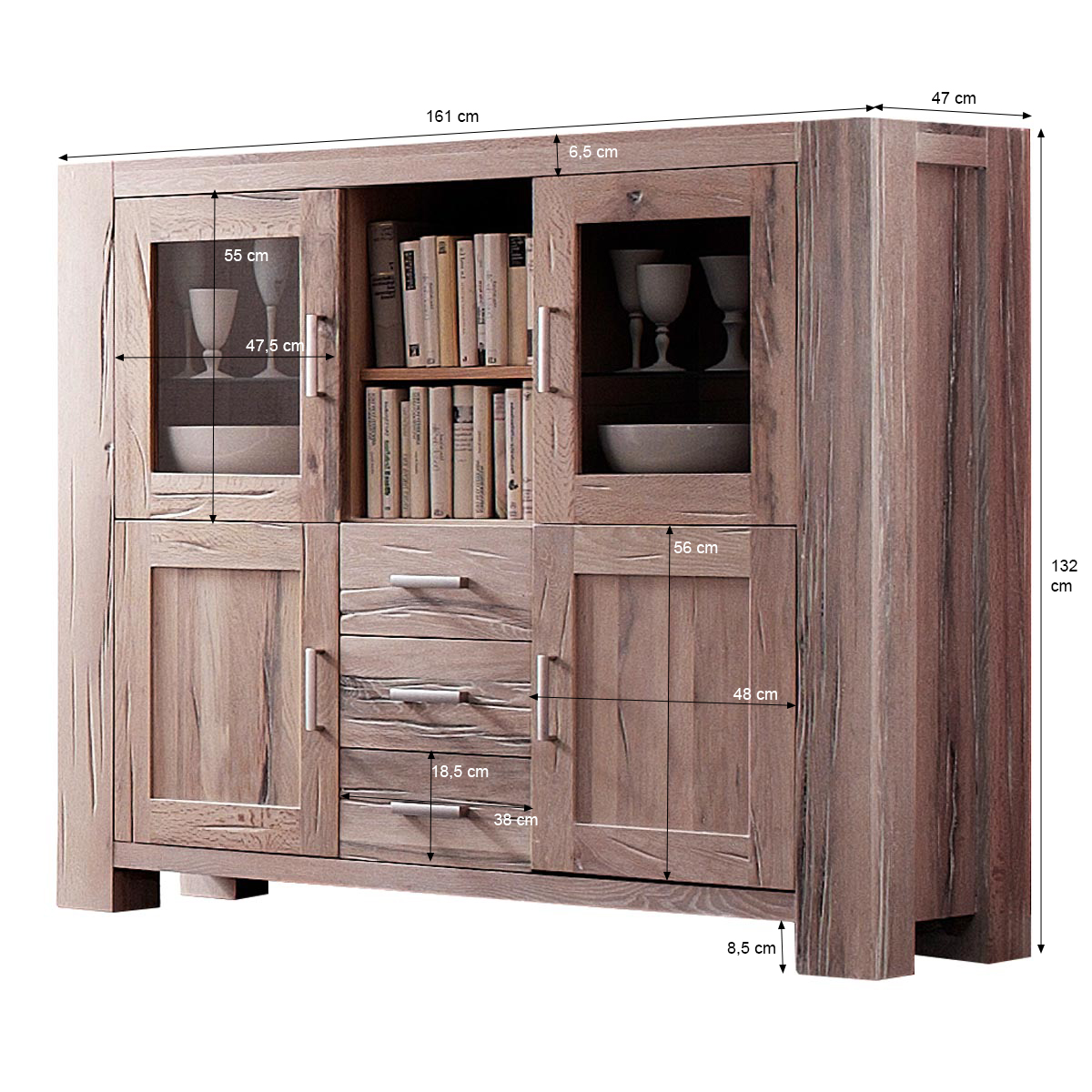 highboard braxton in eiche massiv wei gek lkt. Black Bedroom Furniture Sets. Home Design Ideas
