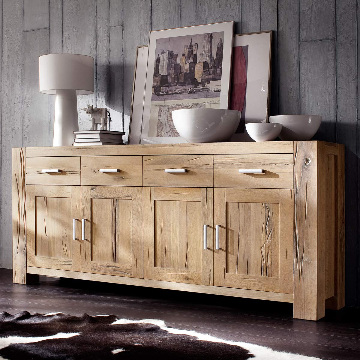 sideboard eiche massiv kommode wildeiche natur ge lt 219 x. Black Bedroom Furniture Sets. Home Design Ideas
