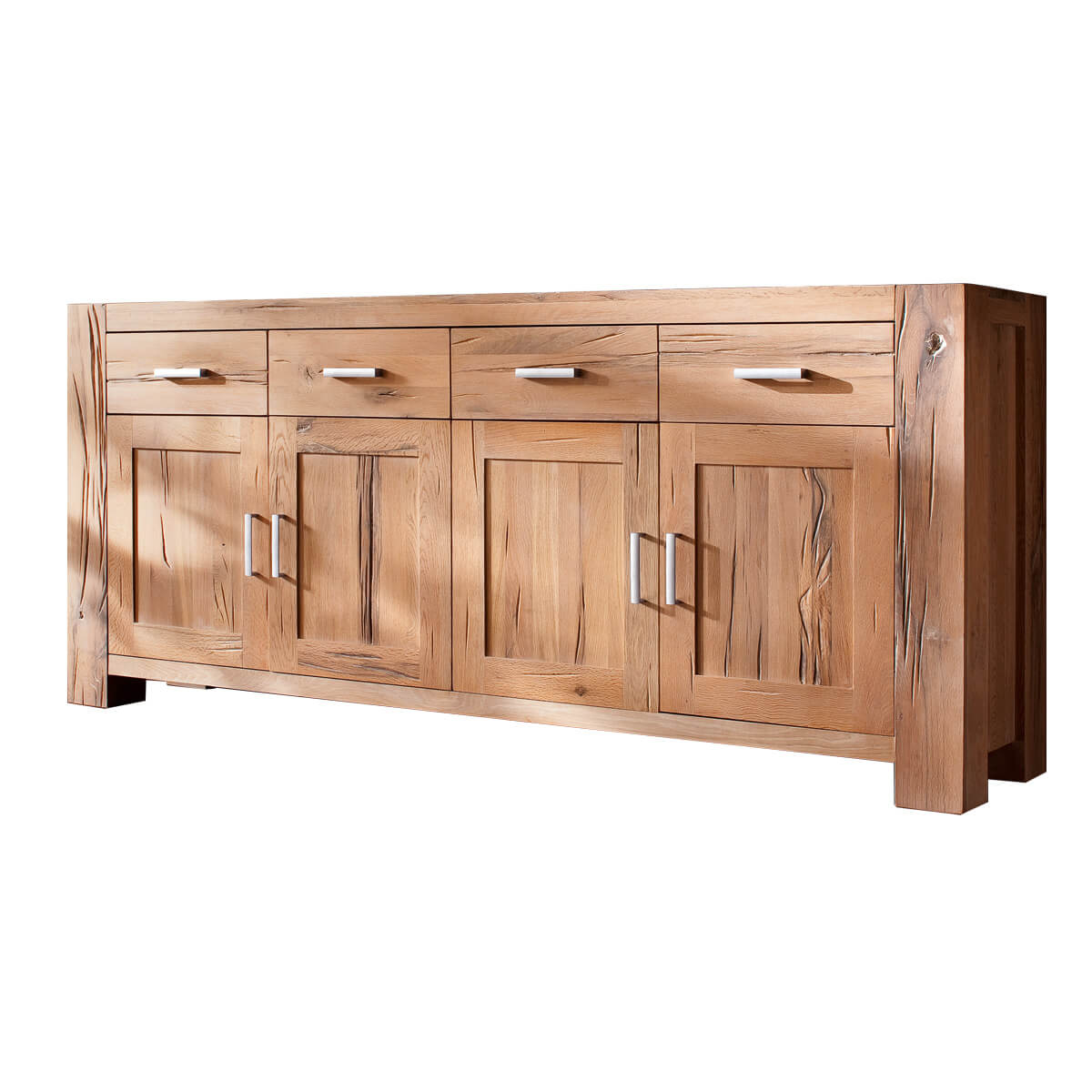 sideboard eiche massiv kommode wildeiche natur ge lt 219 x 94 cm balkeneiche ebay. Black Bedroom Furniture Sets. Home Design Ideas