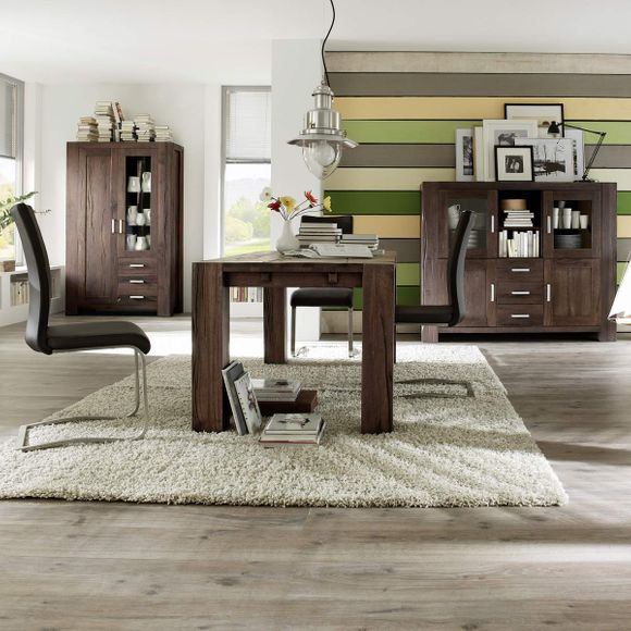 Highboard Braxton in Eiche massiv verwittert antik – Bild 7