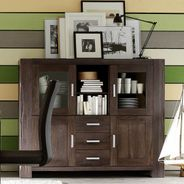Highboard Braxton in Eiche massiv verwittert antik – Bild 2