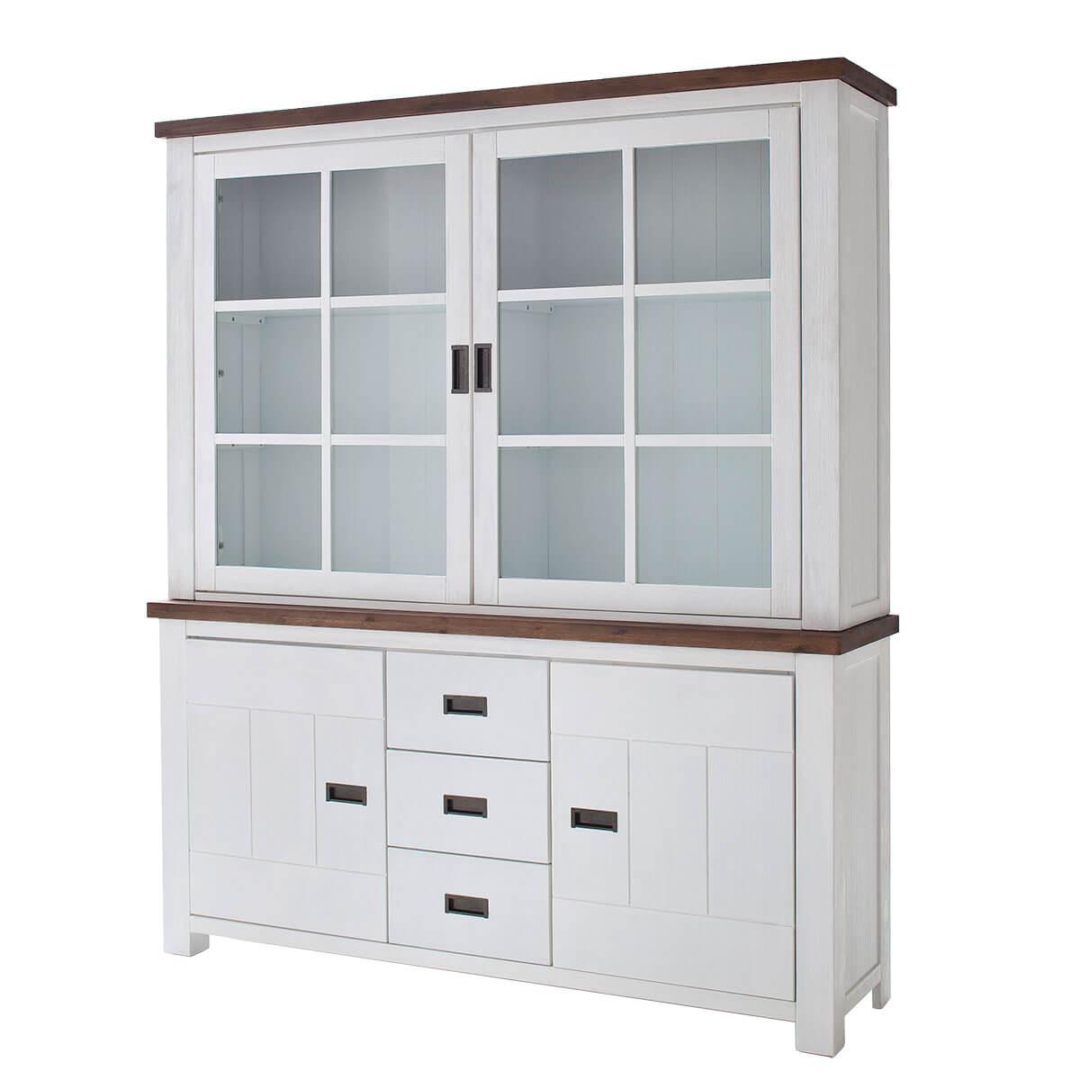 buffet wei landhaus massivholz buffetschrank vitrine. Black Bedroom Furniture Sets. Home Design Ideas