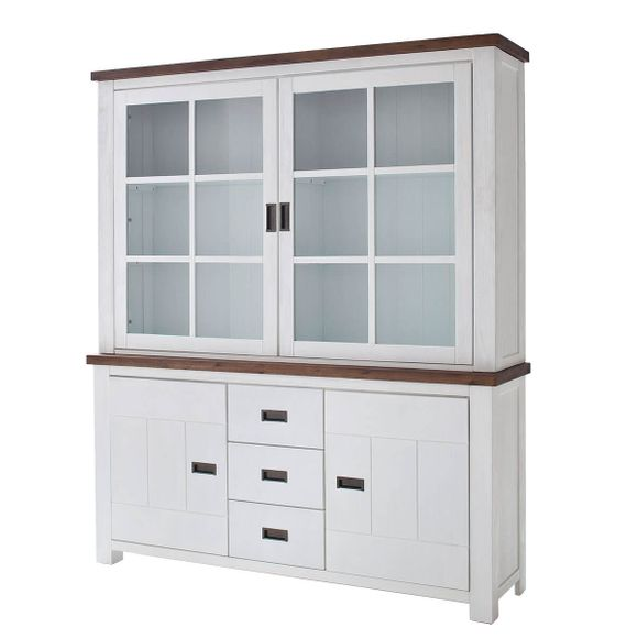 buffet wei landhaus massivholz buffetschrank vitrine weiss braun 179cm breit ebay. Black Bedroom Furniture Sets. Home Design Ideas