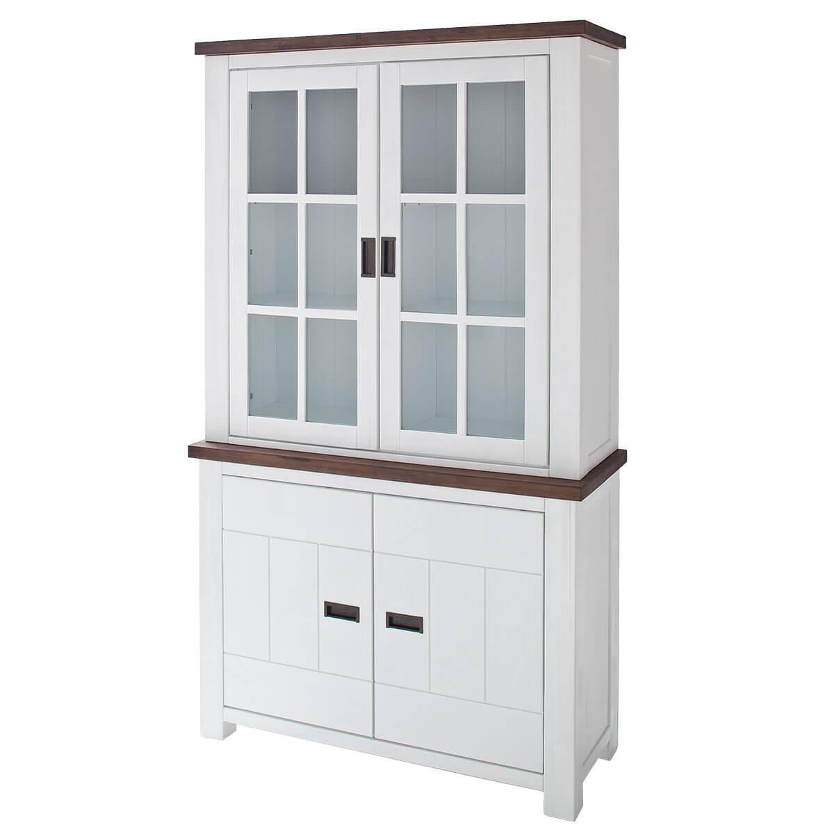 buffet akazie massiv wei braun vitrine massivholz schrank. Black Bedroom Furniture Sets. Home Design Ideas