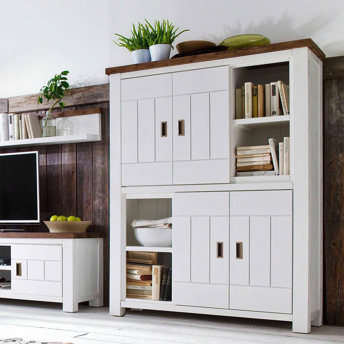 highboard havana in akazie massiv wei braun 125cm breit. Black Bedroom Furniture Sets. Home Design Ideas