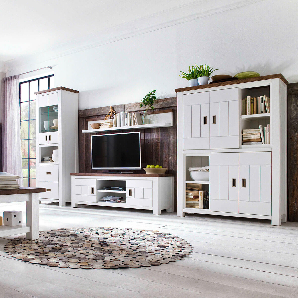 wandregal lyron in akazie massiv wei braun. Black Bedroom Furniture Sets. Home Design Ideas