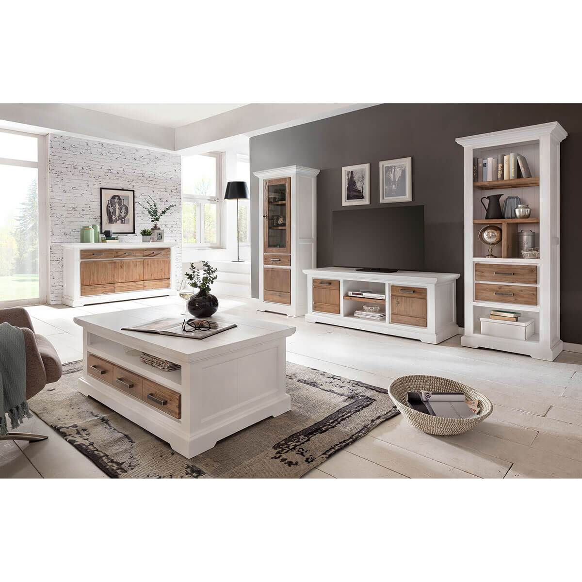 sideboard in massivholz kommode wei braun 166 cm schrank akazie massiv neu ebay. Black Bedroom Furniture Sets. Home Design Ideas