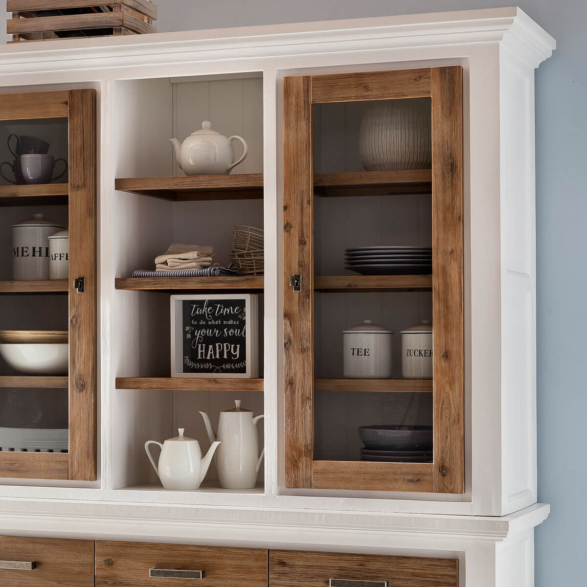 buffet akazie wei braun buffetschrank massiv vitrine. Black Bedroom Furniture Sets. Home Design Ideas