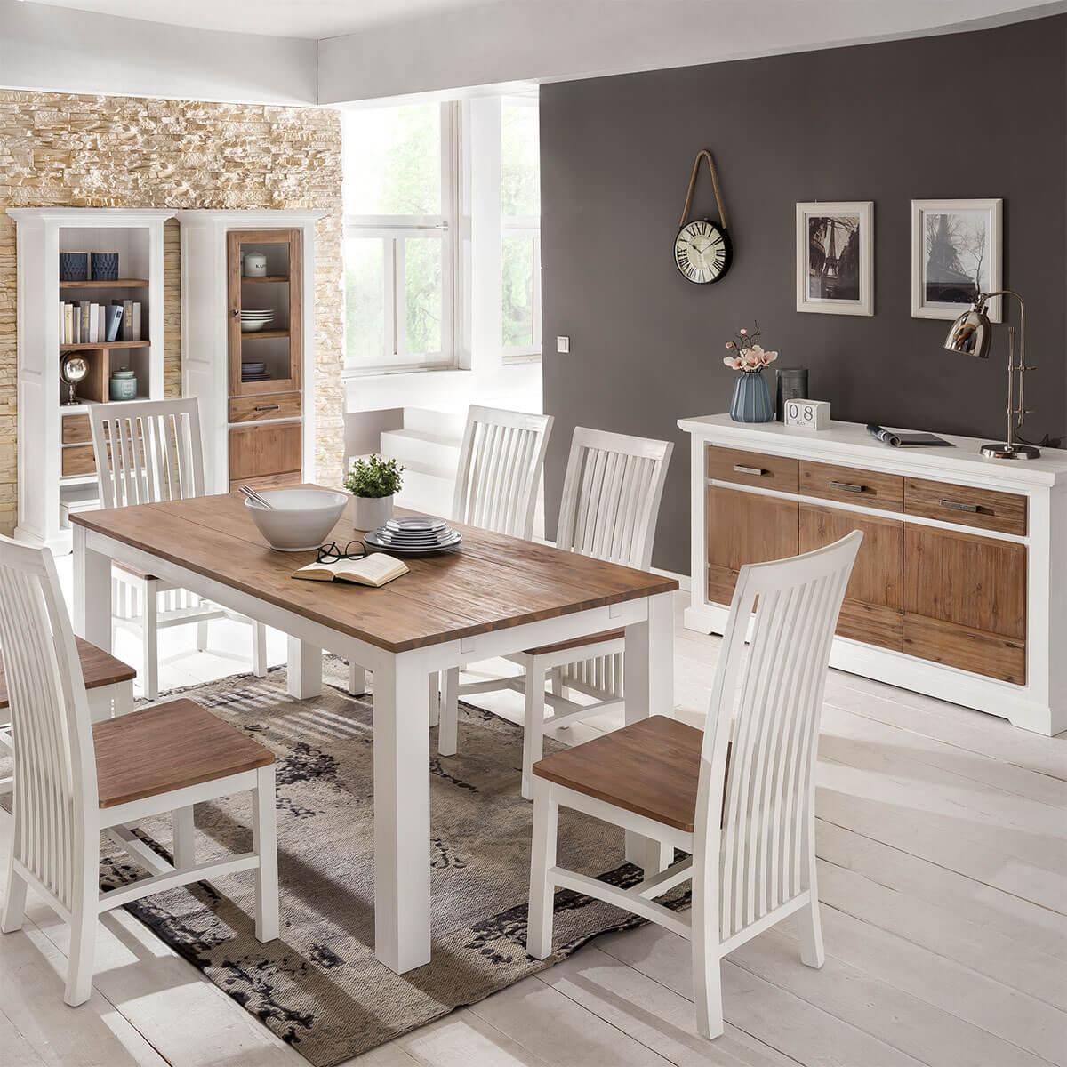 esstisch wei braun 180 cm lale in akazie. Black Bedroom Furniture Sets. Home Design Ideas