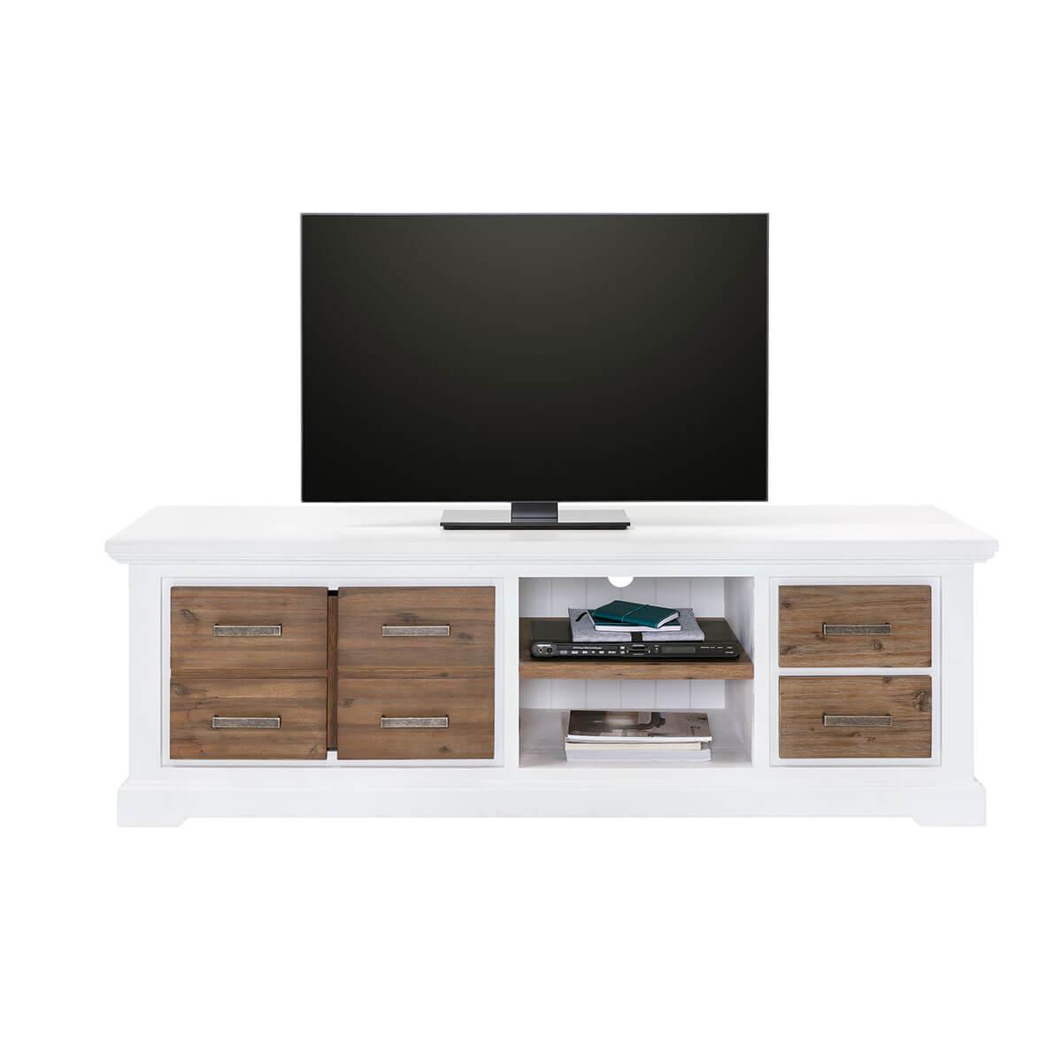 tv lowboard wei braun 180 x 55cm fernsehschrank board landhaus kommode anrichte ebay. Black Bedroom Furniture Sets. Home Design Ideas