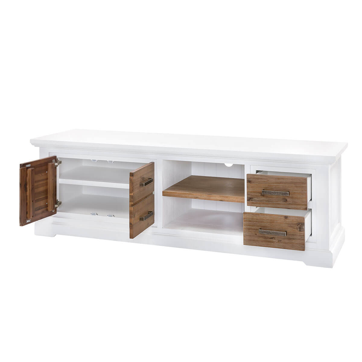 tv lowboard lale in wei braun 180cm breit. Black Bedroom Furniture Sets. Home Design Ideas