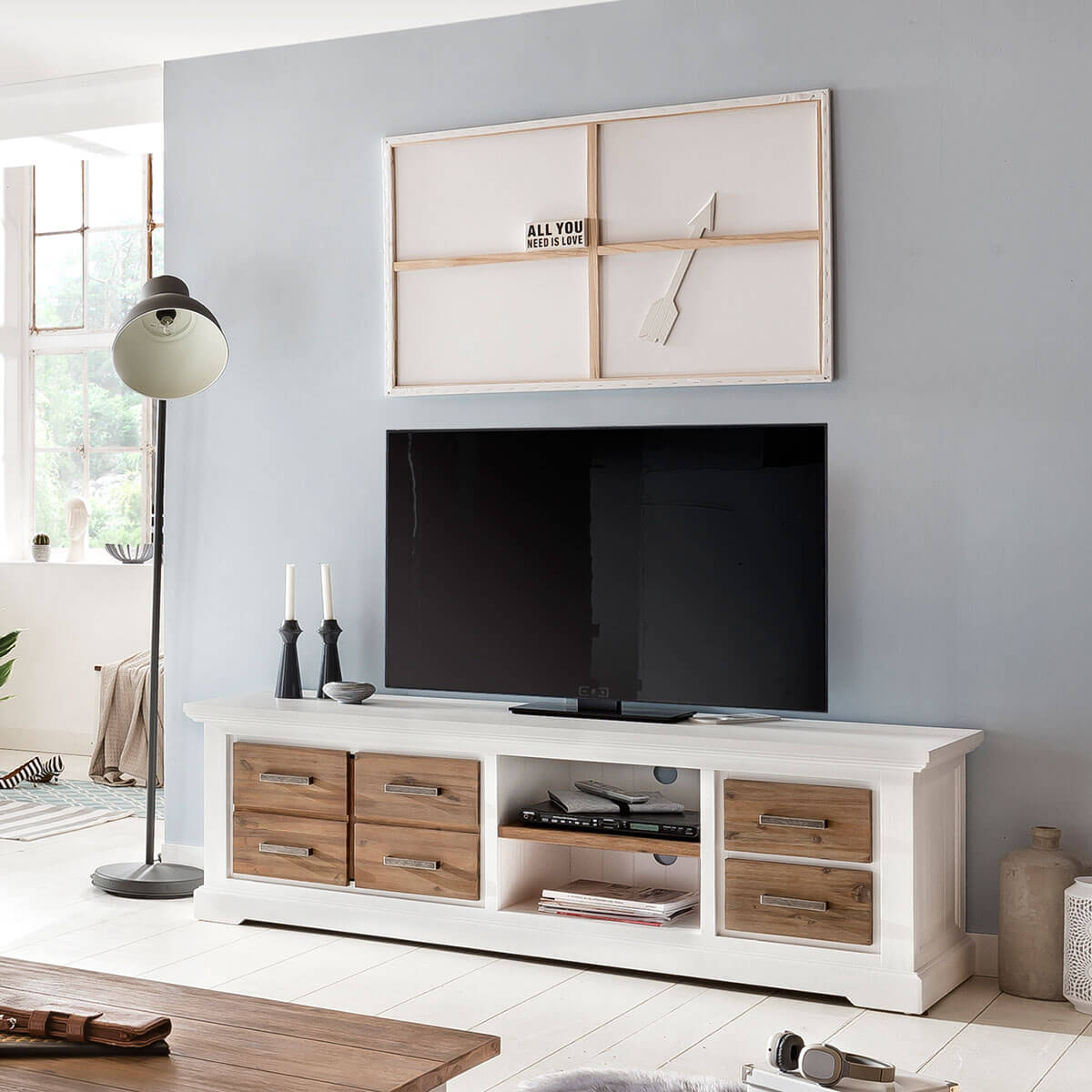 tv lowboard lale in wei braun 180cm breit. Black Bedroom Furniture Sets. Home Design Ideas