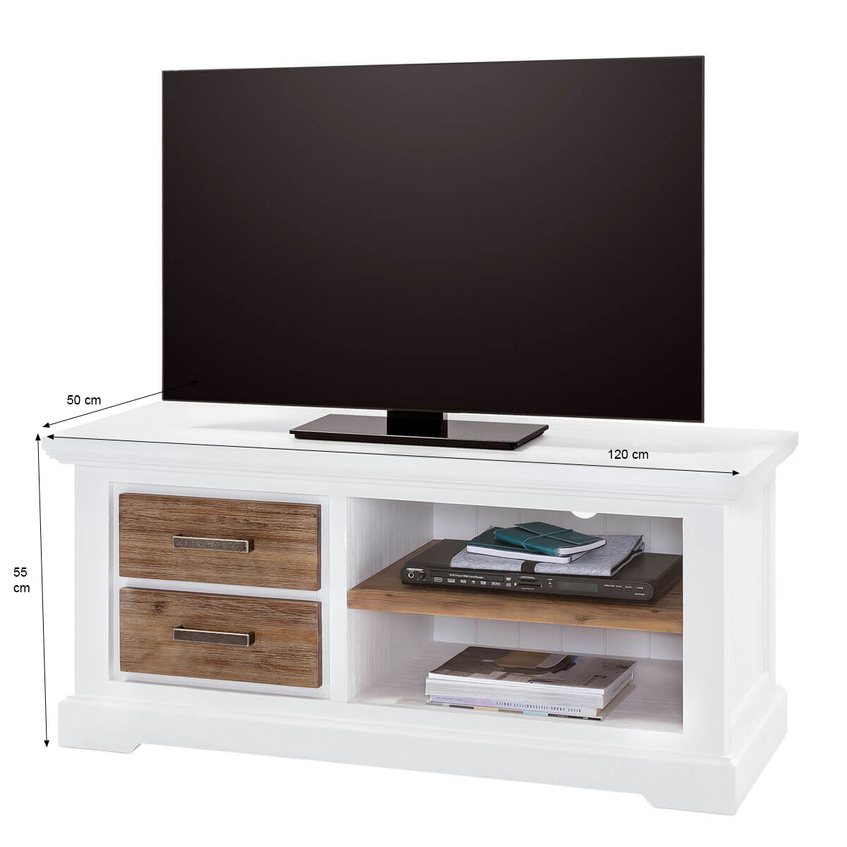 tv lowboard lale in wei braun 120cm breit. Black Bedroom Furniture Sets. Home Design Ideas