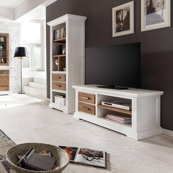 TV Lowboard Lale in Weiß Braun 120cm Breit – Bild 6