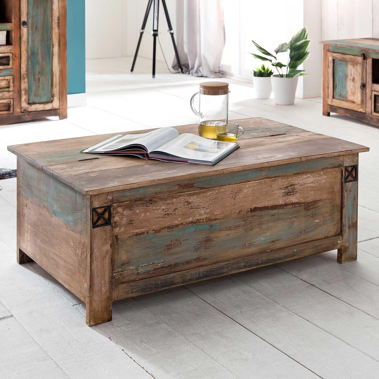 couchtisch largo 115 x 67 cm aus massivholz im vintage look. Black Bedroom Furniture Sets. Home Design Ideas