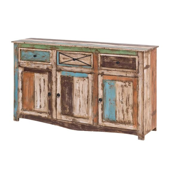 Sideboard Largo 150cm Breit aus Massivholz im Vintage Look