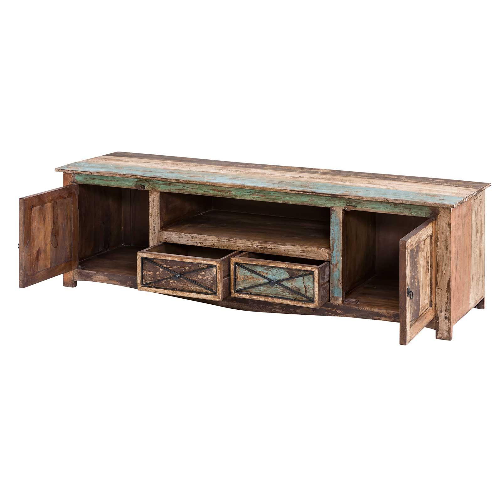 tv lowboard largo 180cm breit aus massivholz im vintage look. Black Bedroom Furniture Sets. Home Design Ideas