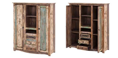Highboard Largo aus Massivholz im Vintagelook