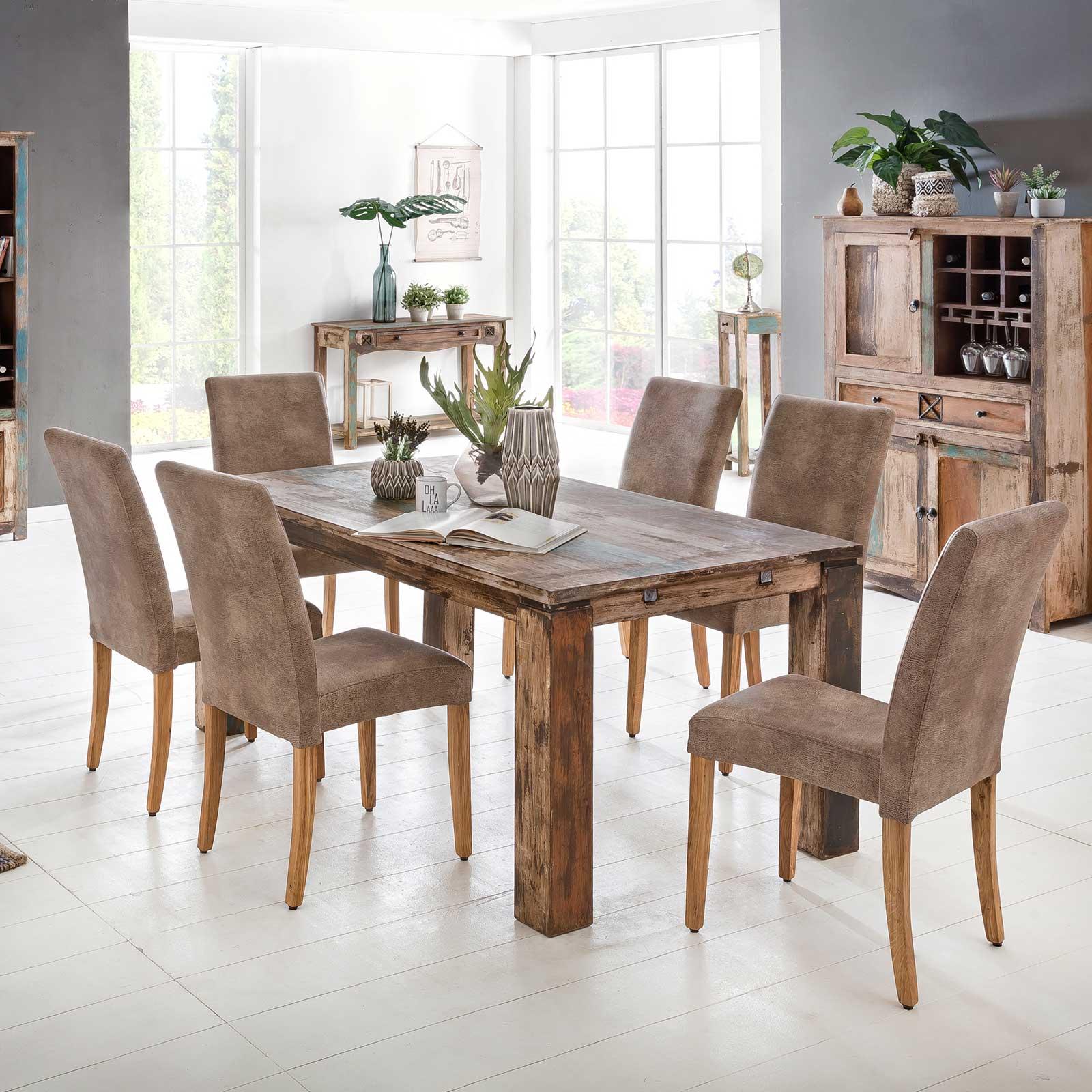 esstisch largo 140 240 cm aus massivholz im vintage look ansteckplatten. Black Bedroom Furniture Sets. Home Design Ideas