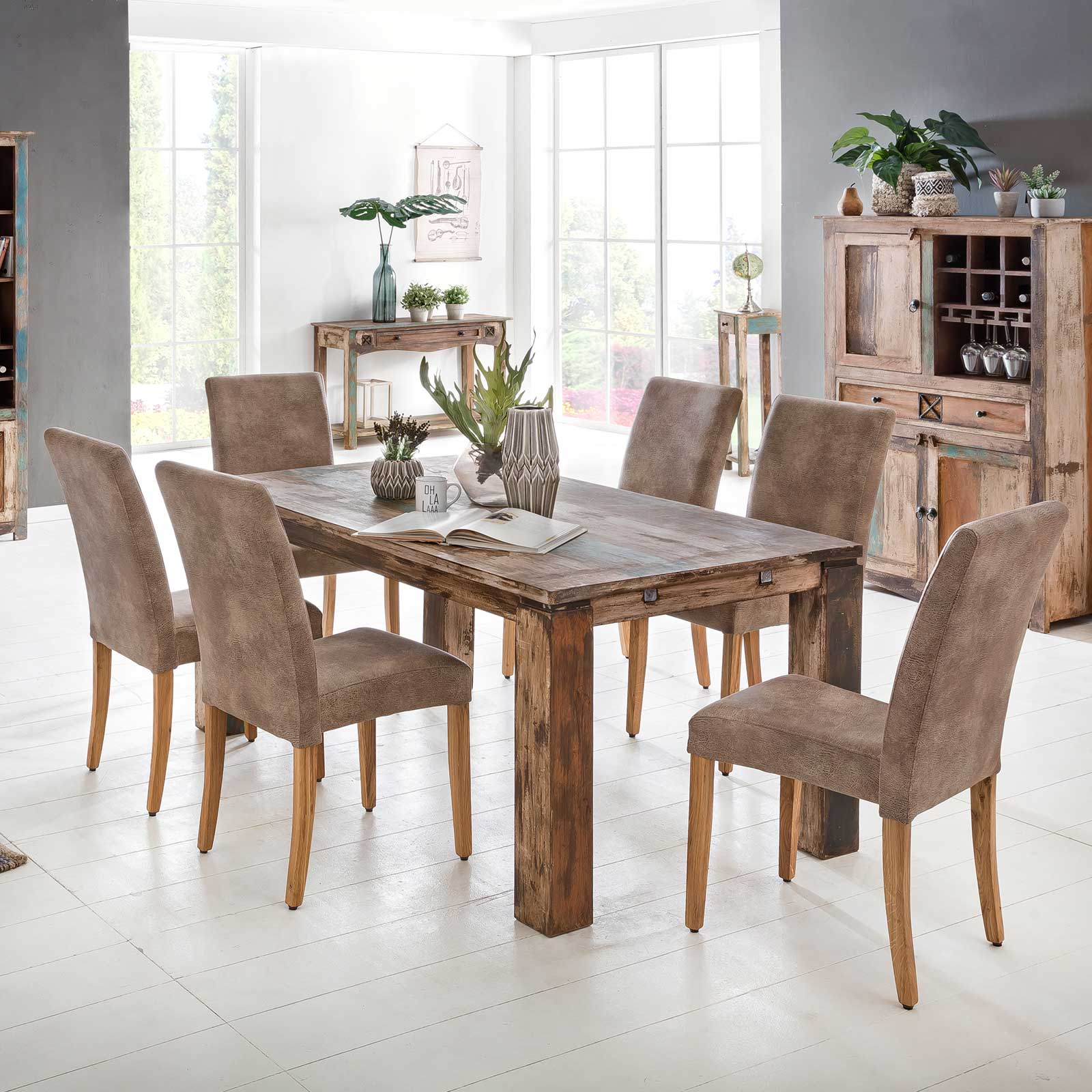 Esstisch largo 180 280 cm aus massivholz im vintage look for Esstisch 180