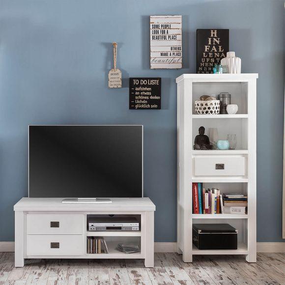 TV Lowboard Lyron in Akazie massiv Weiß 120 cm – Bild 4