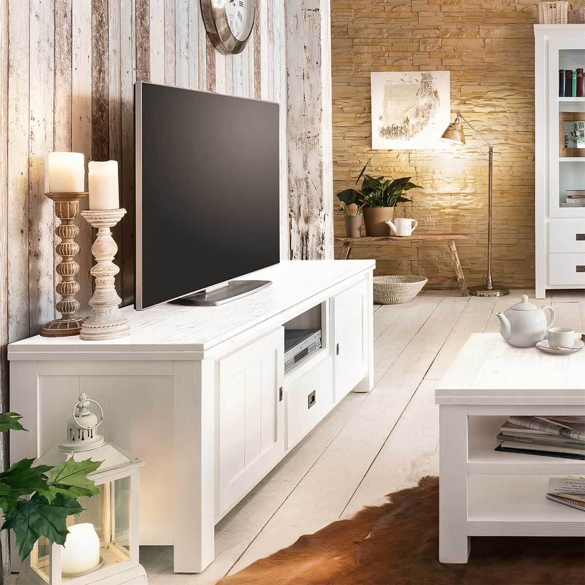 tv board weiss landhaus lowboard massiv 168cm fernsehschrank massivholz akazie ebay. Black Bedroom Furniture Sets. Home Design Ideas