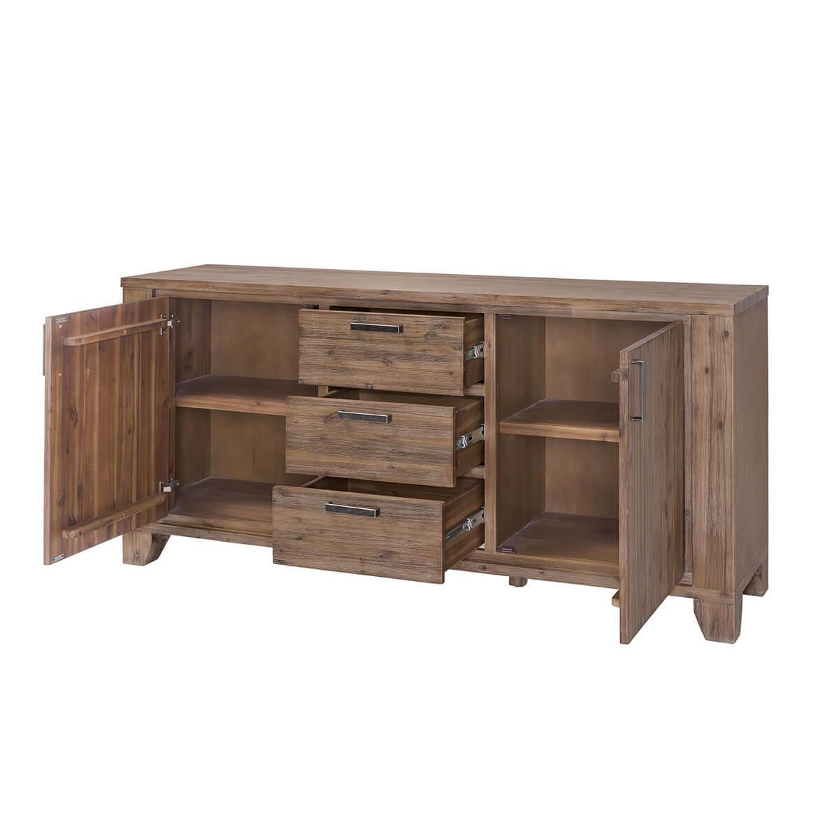 sideboard avora 175cm breit in braun akazie massiv. Black Bedroom Furniture Sets. Home Design Ideas