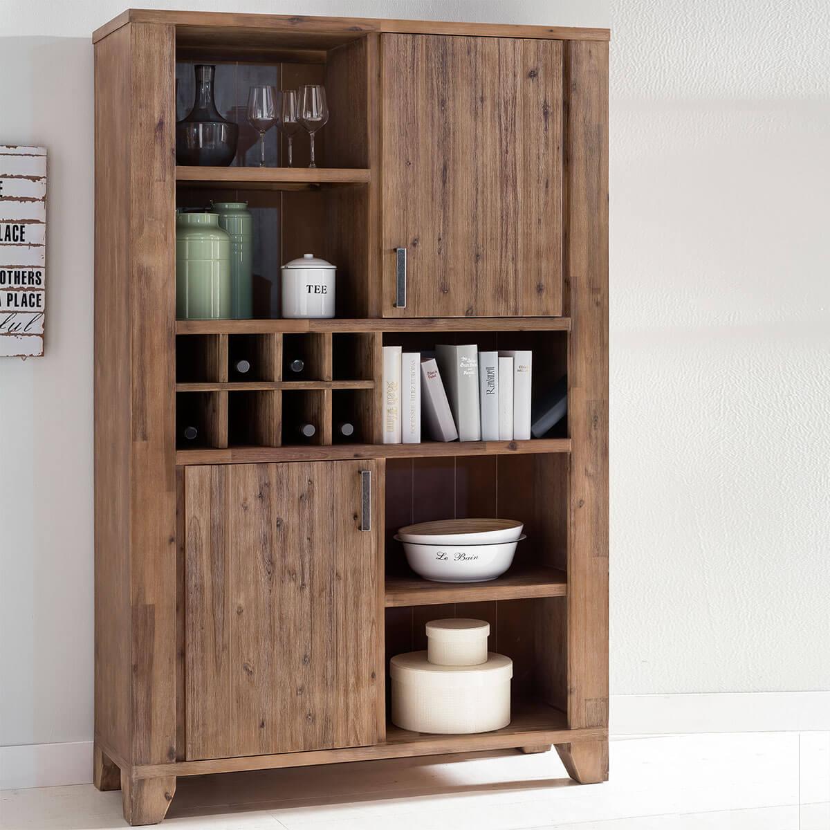 highboard avora 115cm breit in braun akazie massiv. Black Bedroom Furniture Sets. Home Design Ideas