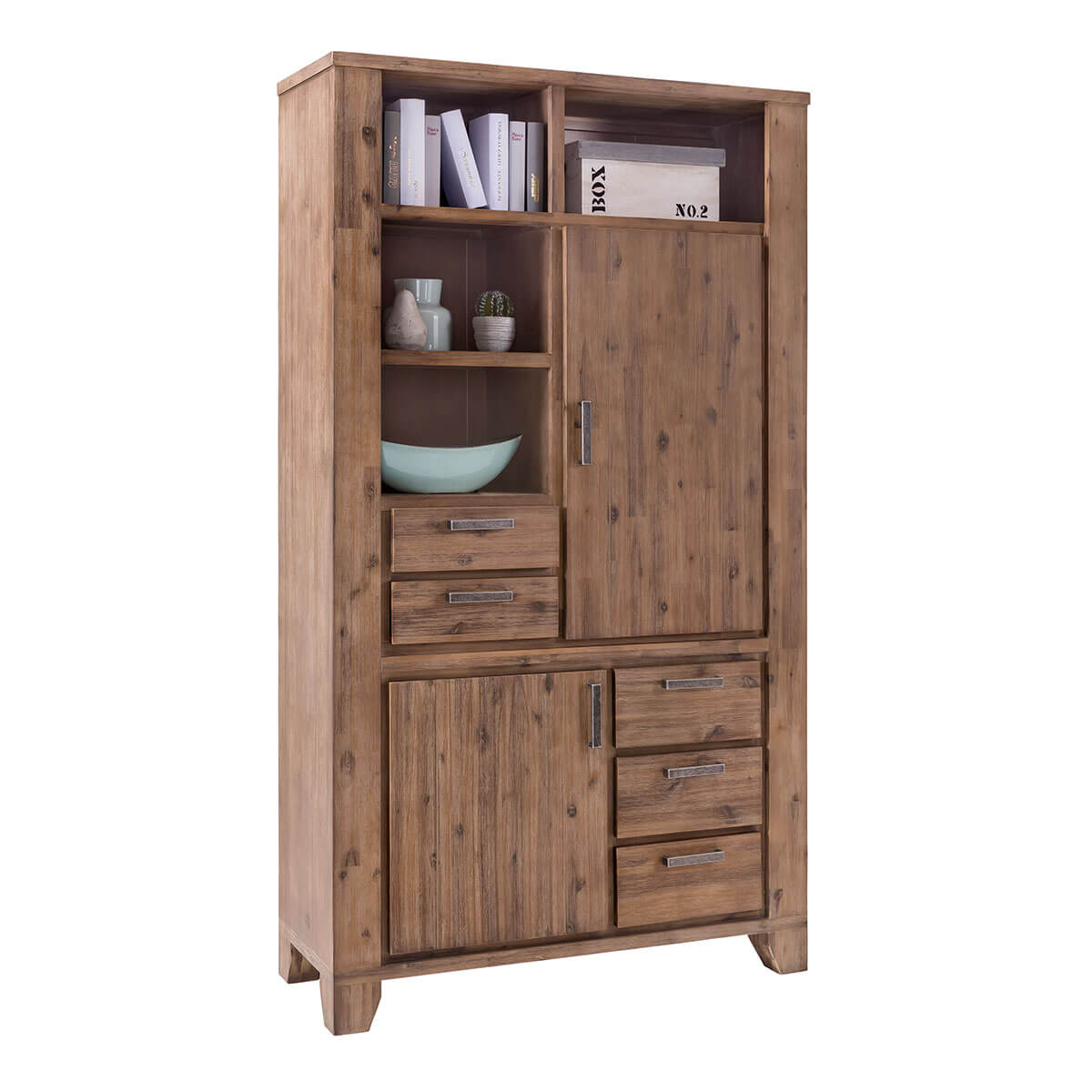 Highboard Avora 110cm Breit in Braun Akazie Massiv