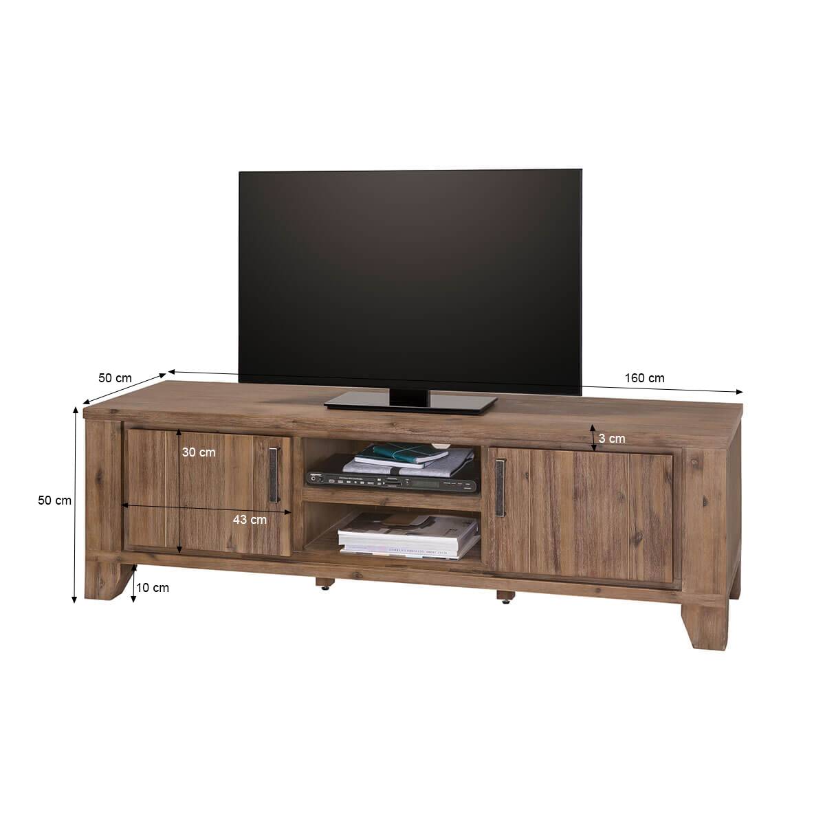 tv lowboard avora 160 cm breit in braun akazie massiv. Black Bedroom Furniture Sets. Home Design Ideas