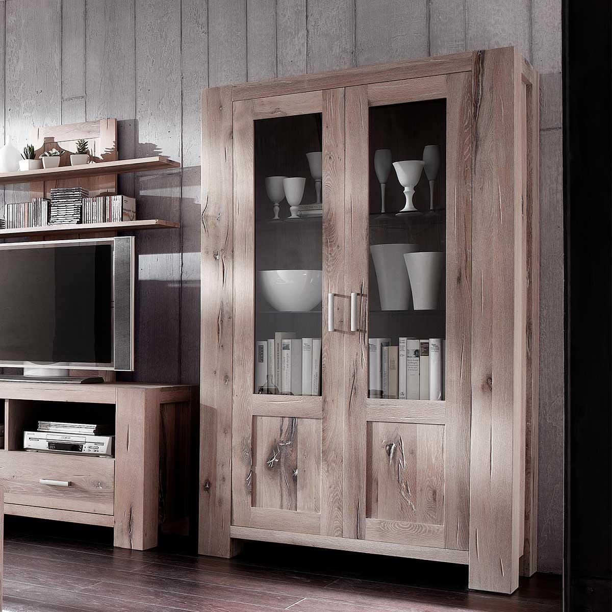 vitrine braxton in eiche massiv wei gek lkt mit glast ren. Black Bedroom Furniture Sets. Home Design Ideas