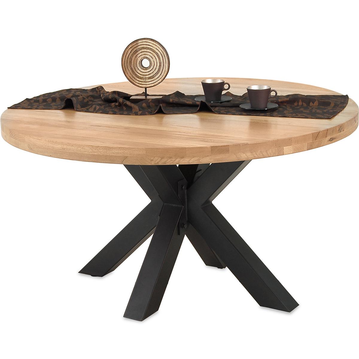 esstisch star 140 cm rund in eiche massiv metall. Black Bedroom Furniture Sets. Home Design Ideas