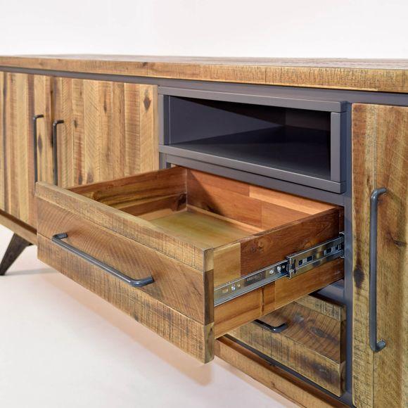 Sideboard Tati 200cm Akazie Massiv Braun Vintage – Bild 4