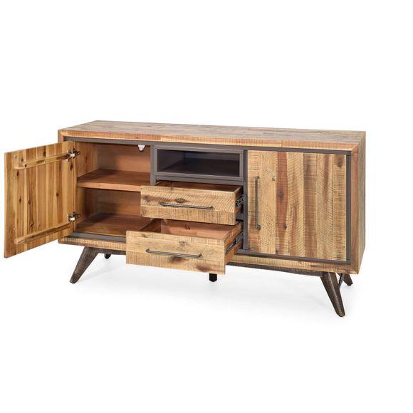 Sideboard Tati 150cm Akazie Massiv Braun Vintage – Bild 3