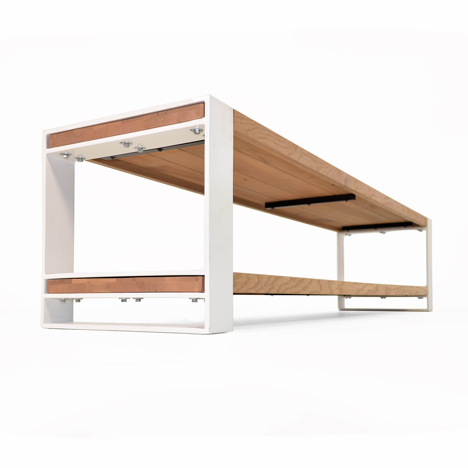 lowboard mio eiche massivholz metall wei 180cm. Black Bedroom Furniture Sets. Home Design Ideas
