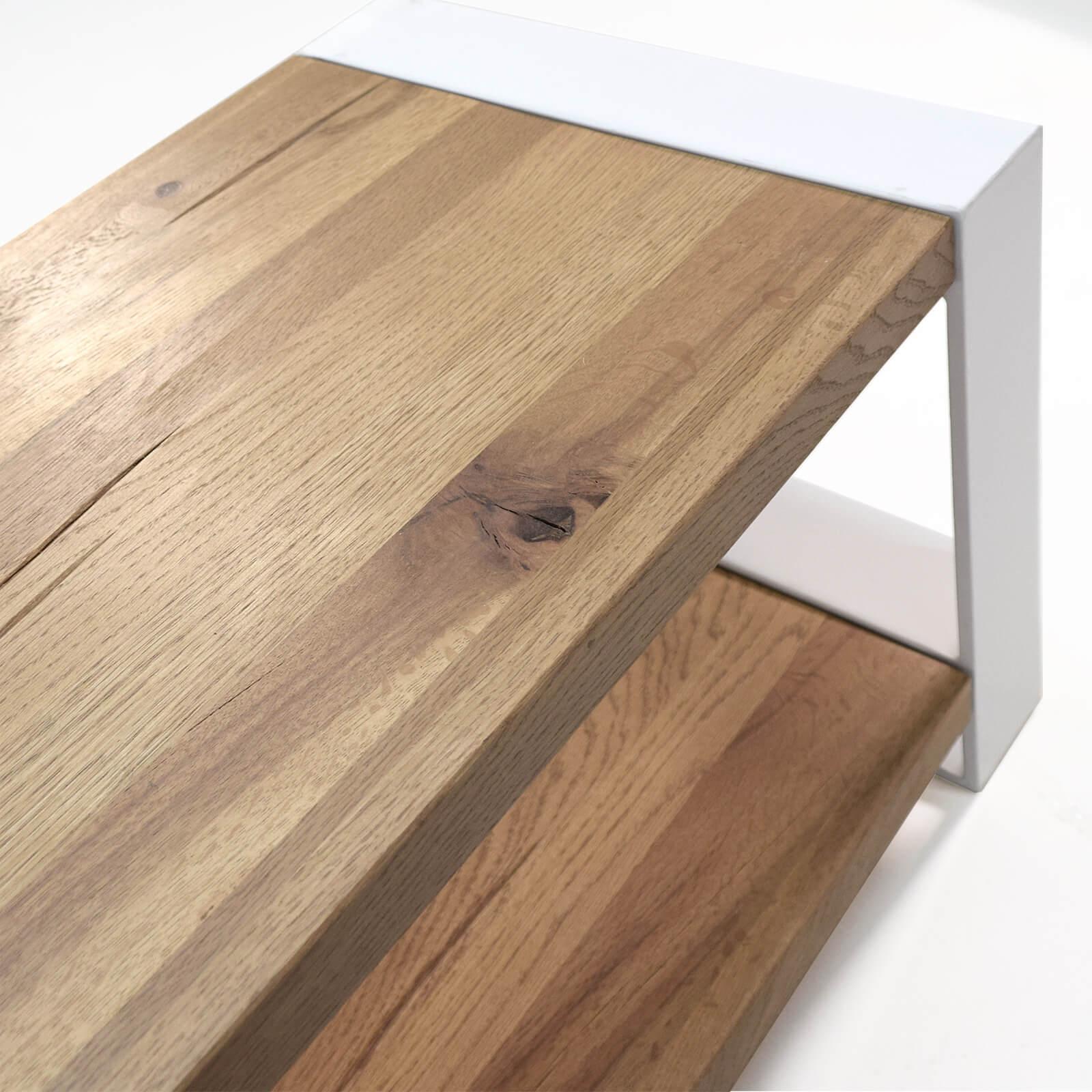 Lowboard Mio Eiche Massivholz Metall Weiss 180cm