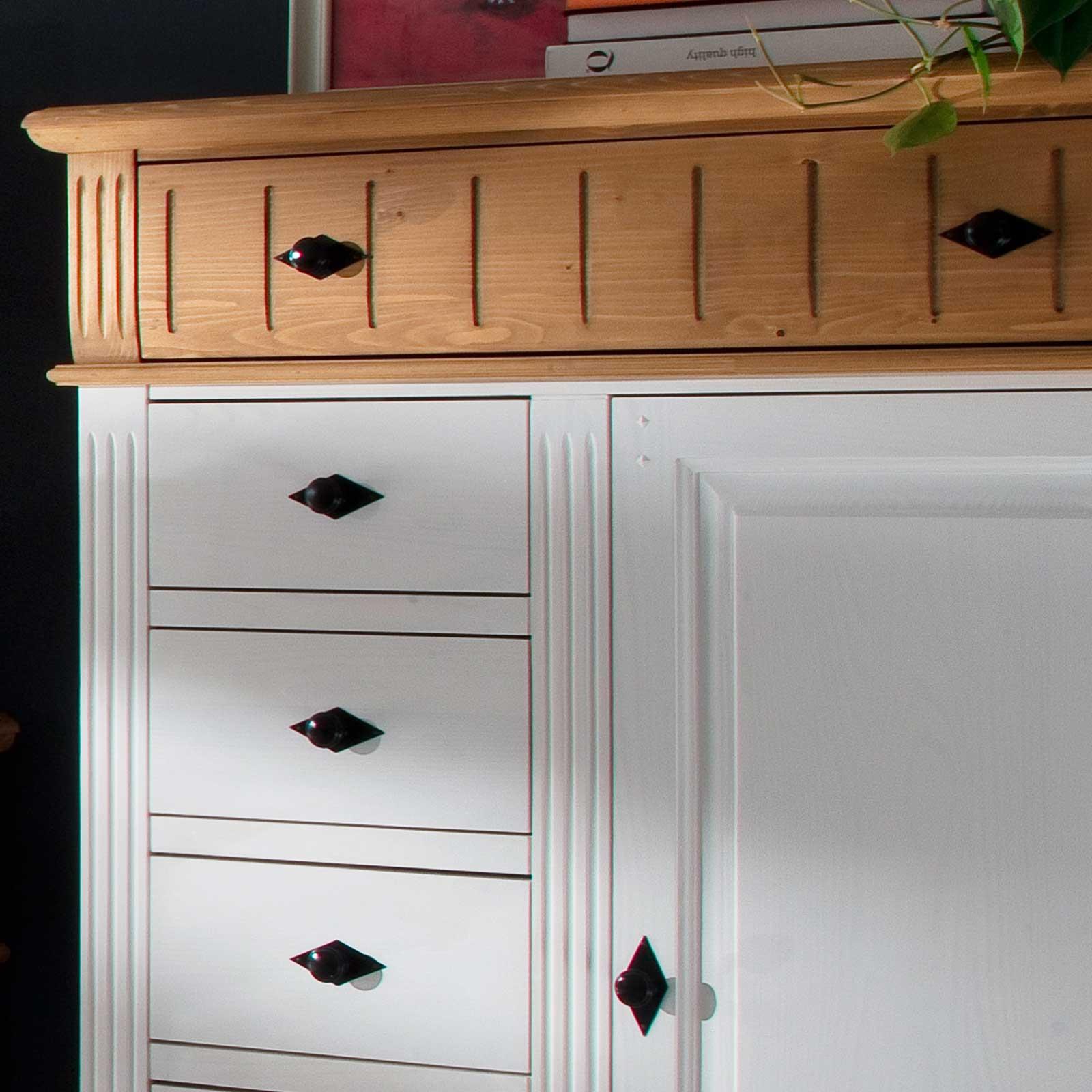 kommode alby wei natur 100 cm breit pinie massiv. Black Bedroom Furniture Sets. Home Design Ideas