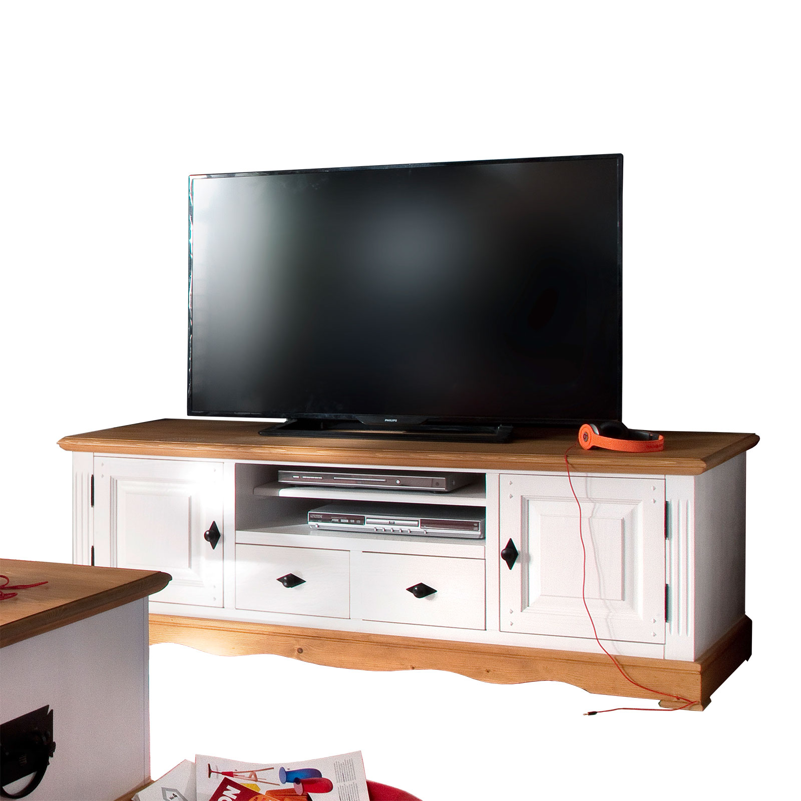 tv lowboard alby wei natur 160 cm breit pinie massiv. Black Bedroom Furniture Sets. Home Design Ideas