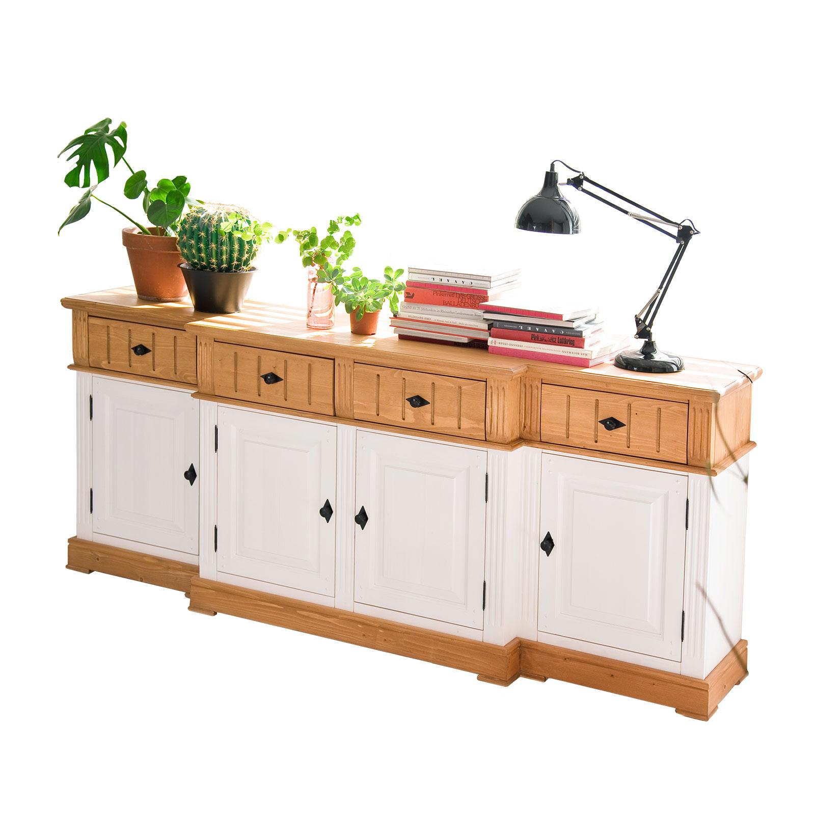sideboard alby wei natur 210 cm breit pinie massiv. Black Bedroom Furniture Sets. Home Design Ideas