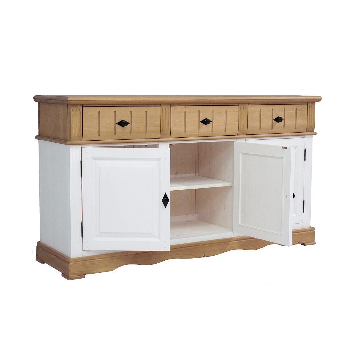 sideboard alby wei natur 161 cm breit pinie massiv. Black Bedroom Furniture Sets. Home Design Ideas